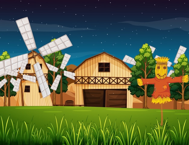 Cena de fazenda com celeiro e moinho e assustador à noite
