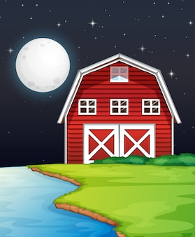Cena de fazenda com celeiro e rio à noite
