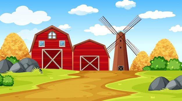 Cena de fazenda com celeiro, feno, parque e moinho de vento