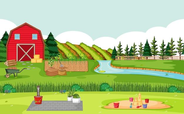 Cena de fazenda com celeiro vermelho em paisagem de campo