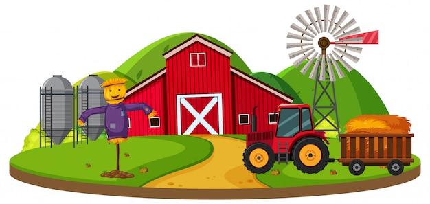 Cena de fazenda com celeiro vermelho