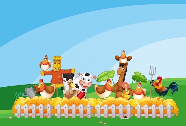 Cena de fazenda com criação de animais e céu em branco