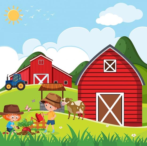 Cena de fazenda com crianças felizes, plantar vegetais na fazenda