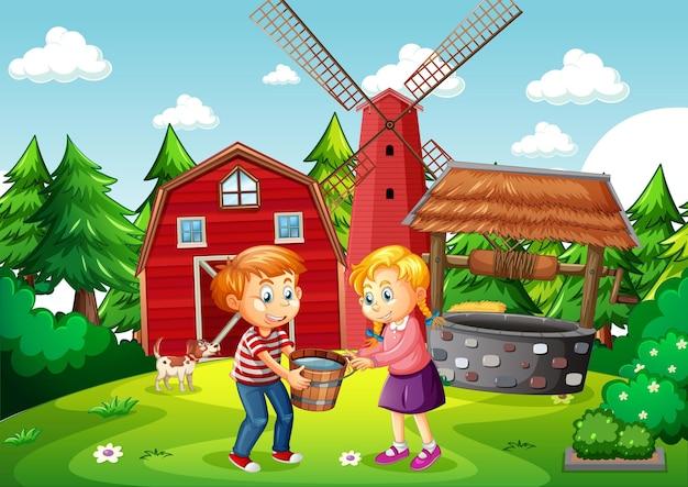 Cena de fazenda com crianças segurando um balde cheio de água