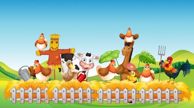 Cena de fazenda com estilo cartoon de fazenda animal