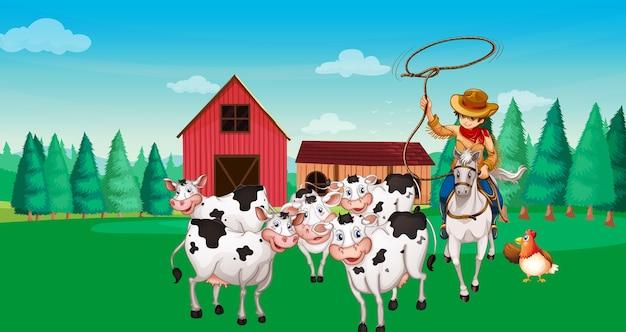 Cena de fazenda com estilo de desenho animado de fazenda de animais