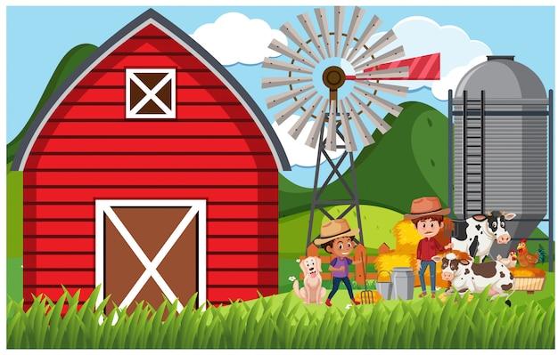 Cena de fazenda com fazendeiro e animais na fazenda