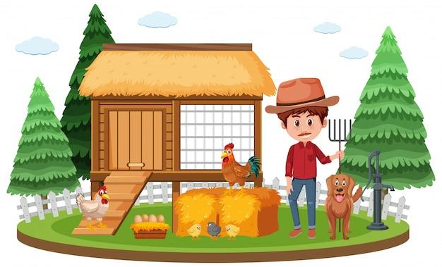 Cena de fazenda com fazendeiro e galinhas na fazenda