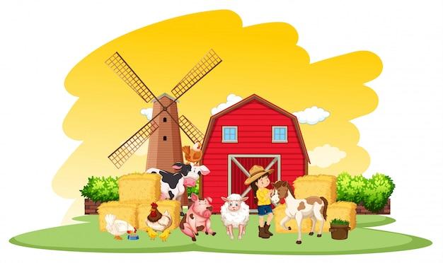 Cena de fazenda com fazendeiro e muitos animais na fazenda