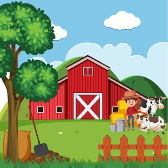 Cena de fazenda com fazendeiro e vacas pelo celeiro
