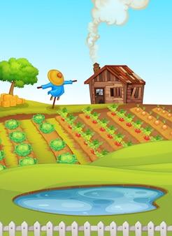 Cena de fazenda com lagoa em primeiro plano e ilustração de culturas
