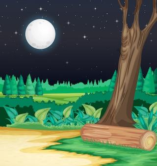 Cena de fazenda com lua grande à noite