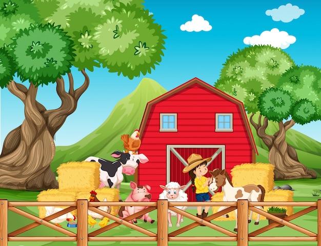Cena de fazenda com menina e animais na fazenda