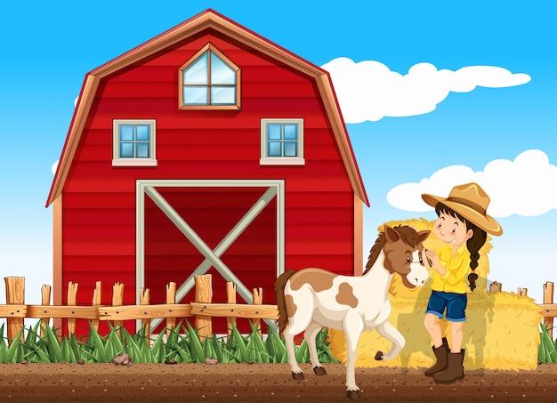 Cena de fazenda com menina e cavalo na fazenda