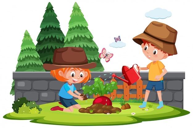 Cena de fazenda com menino e menina plantar vegetais