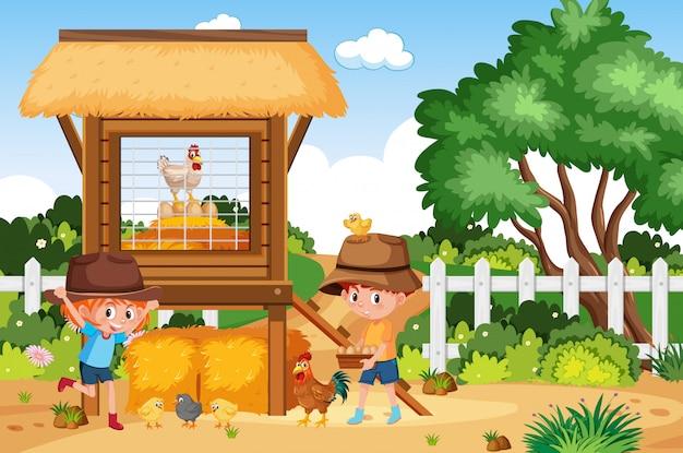 Cena de fazenda com menino e menina trabalhando na fazenda