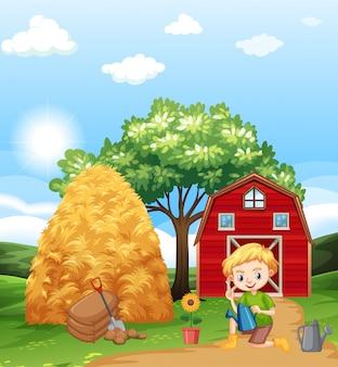 Cena de fazenda com menino plantando flores na fazenda
