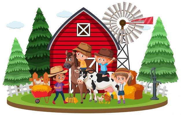 Cena de fazenda com muitas crianças e animais na fazenda