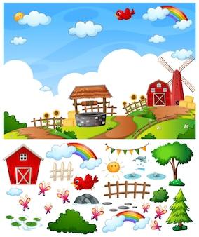 Cena de fazenda com personagem de desenho animado e objetos isolados