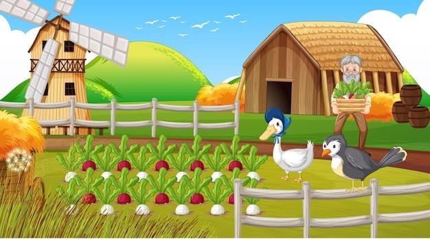 Cena de fazenda com velho fazendeiro e animais de fazenda