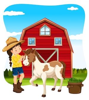 Cena de fazenda menina e cavalo