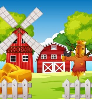 Cena de fazenda na natureza com celeiro e espantalho e moinho de vento