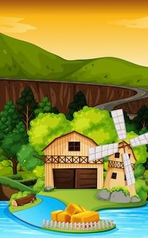 Cena de fazenda na natureza com celeiro e moinho de vento e rio