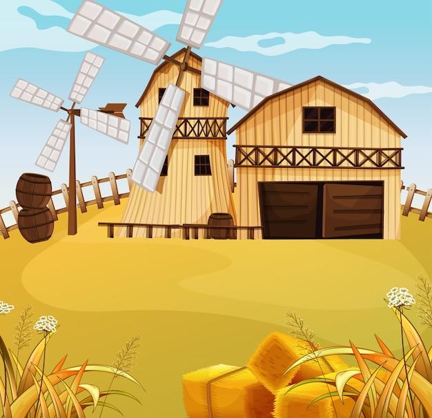 Cena de fazenda na natureza com celeiro e moinho de vento