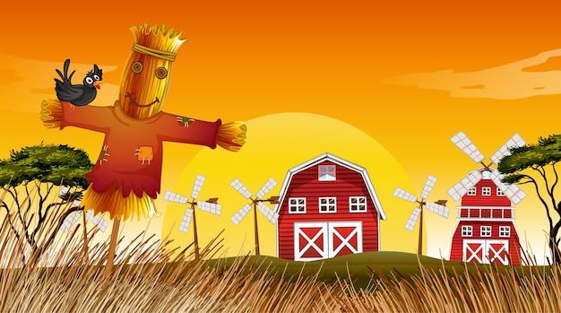 Cena de fazenda na natureza com celeiro, moinho de vento e espantalho
