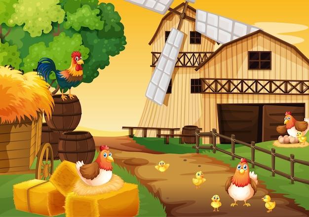 Cena de fazenda na natureza com celeiro, moinho de vento e frango