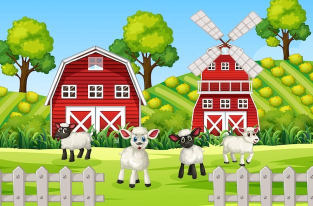 Cena de fazenda na natureza com celeiro, moinho de vento e ovelhas