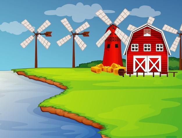 Cena de fazenda na natureza com celeiro, moinho de vento e rio