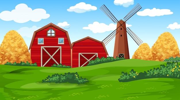 Cena de fazenda na natureza com celeiro