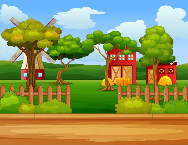 Cena de fazenda na natureza com ilustração de celeiro e moinho de vento