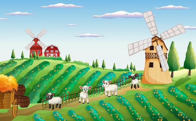 Cena de fazenda na natureza com moinho de vento e ovelhas