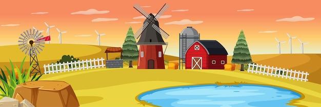 Cena de fazenda rural ao pôr do sol