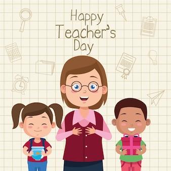 Cena de feliz dia de professores com casal de professores e alunos.