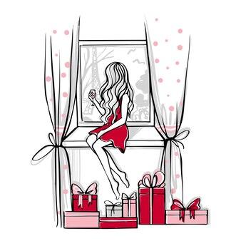 Cena de feliz natal com presentes