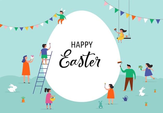 Cena de feliz páscoa com famílias, crianças. evento de rua, festival e feira de páscoa