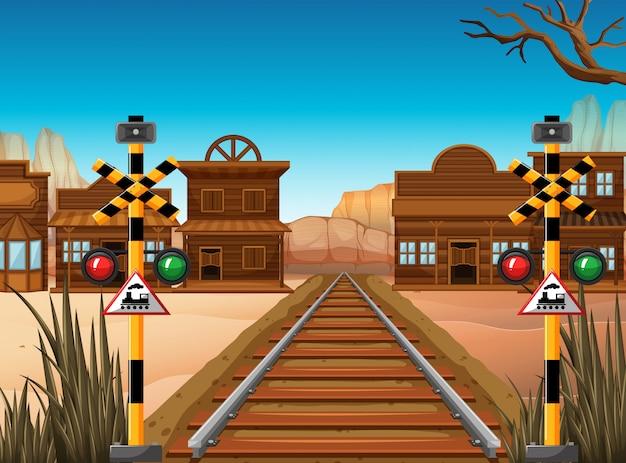 Cena de ferrovia na cidade ocidental