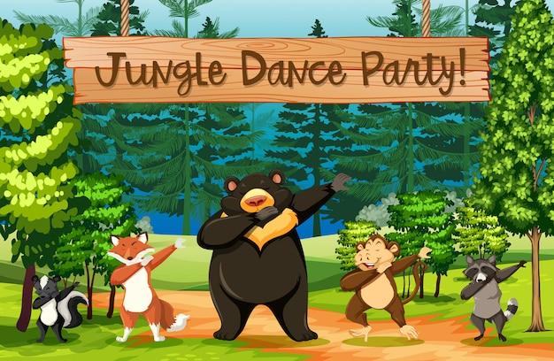 Cena de festa de dança na selva