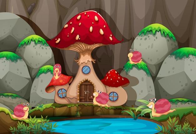 Cena de floresta com casa de cogumelo pela lagoa
