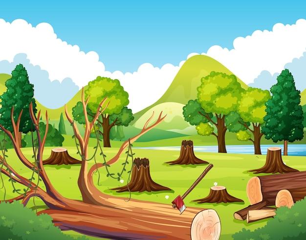 Cena de floresta com tocos de árvores