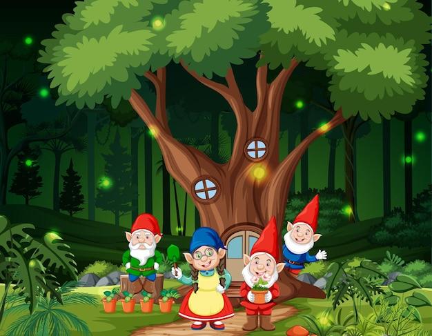 Cena de floresta fantástica com família de gnomos