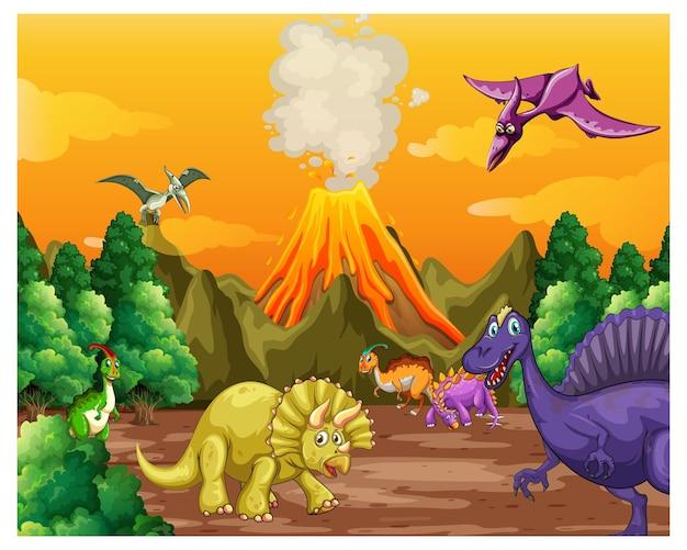 Cena de floresta pré-histórica com vários dinossauros