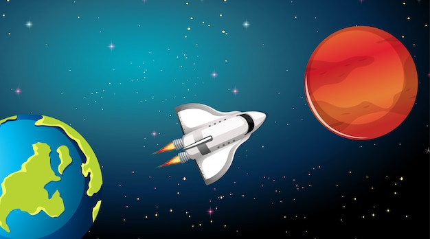 Cena de foguete e planetas
