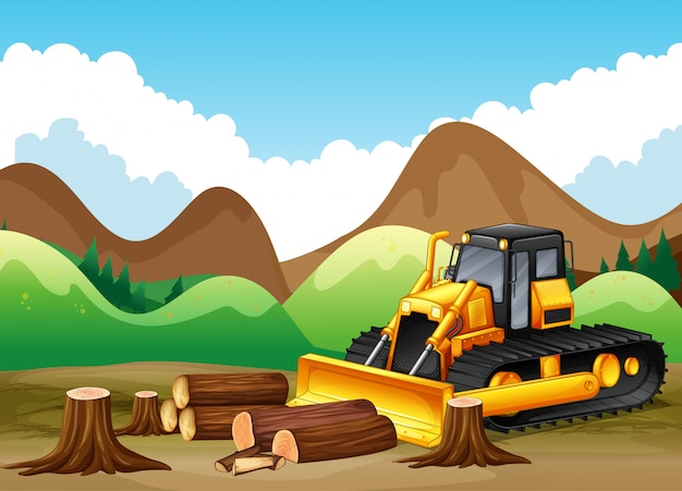 Cena de fundo com árvores sendo cortadas