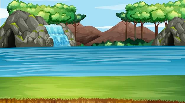 Cena de fundo com cascata e rio