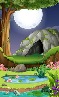 Cena de fundo com caverna à noite