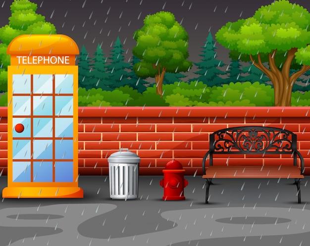 Cena de fundo com chuva no parque